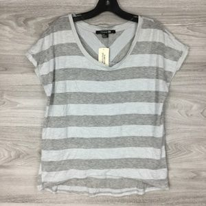 Forever 21 Grey Scoop Neck Knit Short Sleeve Tee